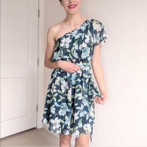 NWT Eliza J. Green Floral One Shoulder Dress 12